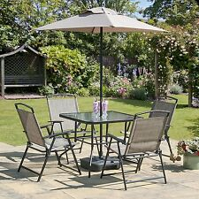 Oasis Patio Set Outdoor Garden Furniture 7 Piece Folding Chairs Table Parasol
