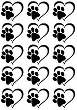"Heart Dog Cat Paw Print 5"" X 3-1/2"" Card Black Fused Glass Decals 17CC795"