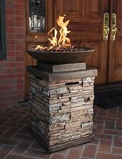 LP Gas Fire Pit Bowl Stylish Outdoor Patio Pool Natural Warm Tones Stone