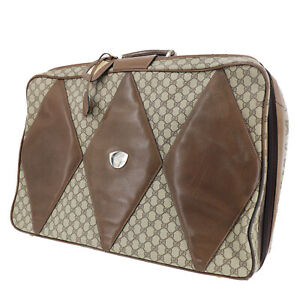 GUCCI GG Plus Used Travel Hand Bag Brown PVC Leather Vintage Italy Auth #AB748 Y