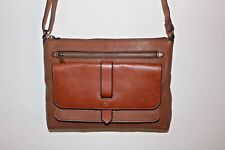 Fossil Purse KINLEY Medium Glazed Pebbled Leather Crossbody Brown Tan EXCELLENT