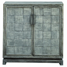 Antiqued Gray Silver Checks Accent Cabinet Retro Squares Textured Distressed