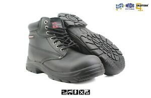 Mens Extra Wide EEEE Fitting Black Leather Steel Toe Cap & Midsole Safety Boots