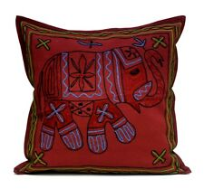 A Handmade Indian Home Decorative Elephant Embroidery Maroon Cushion Cover