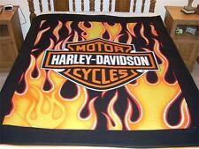 "Harley Davidson Orange Flame Royal Plush Raschel Throw Blanket Twin 60""x80"""
