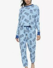 BBC Doctor DR Who Tardis Waffle Thermal Pajamas PJ Sleep Set Juniors Medium  MED 00f09da07