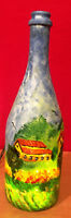 HAND PAINTED LIGHTED BOTTLE Signed by Artist
