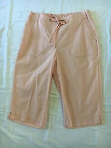 Suzanne Grae 10 capris pants cotton pink bow casual summer beach Christmas Med ^