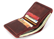 men women wallet purse cow Leather Card cases ID Holder Bifold bag red z936
