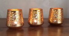 Set of 3 Tea Light Holders Gold Metal Candle 7cm Votive Table Heart Ornament New