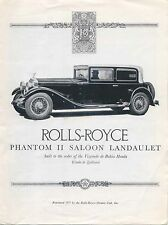 Rolls-Royce Phantom II Saloon Laundaulet UK Sales Brochure high quality REPRINT