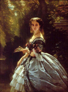 Oil painting beautiful young noblelady standing in landscape by Winterhalter art