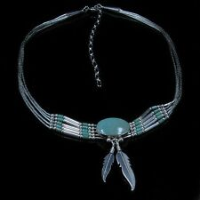 5 Strand .925 Liquid Sterling Silver Light Green Kingman Turquoise Necklace