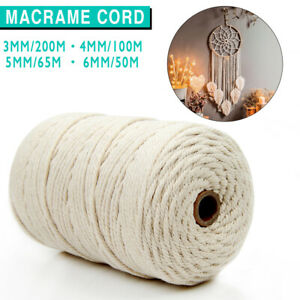 3/4/5/6mm Natural Cotton Twisted Cord Craft Macrame Artisan Rope Craft String AU