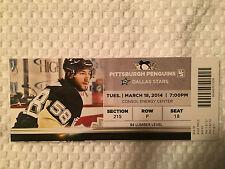 Pittsburgh Penguins/ Dallas Stars Ticket Stub 3/18/14 Featuring Kris Letang
