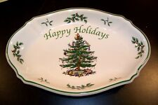 "Spode England Happy Holiday's Christmas Tree 10.5"" Oval Serving TRAY PLATE DISH"
