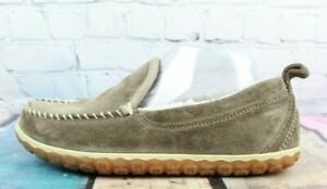 LL BEAN Women's Brown Suede Fleece Lined Mountain Moccasin Slippers Size 7 M