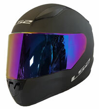 LS2 FULL FACE MOTORCYCLE CRASH HELMET MATT BLACK WITH RAINBOW IRIDIUM VISOR
