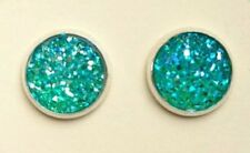 SILVER SPARKLING DRUZY RESIN GREEN ROUND CLIP ON EARRINGS 12MM