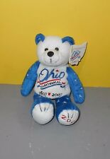 "8"" Ohio Bicentennial Bear Bean Stuffed Plush 1803-2003 Red White & Blue Stars"