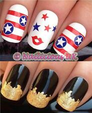 NAIL ART SET #235. AMERICAN FLAG STARS & STRIPES TRANSFERS/STICKERS & GOLD LEAF