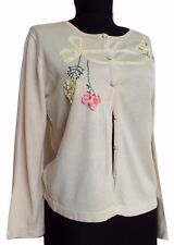 Tusnelda Bloch Copenhagen Womens Cardigan 100% Silk Beige Embelished Size XL L