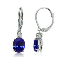 Sterling Silver Created Blue Sapphire and Diamond Accent Oval Dangling Leverback
