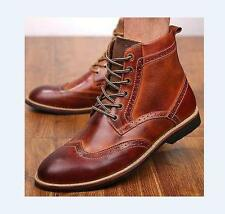 Mens Brogue shoes leather formal dress work wing tip carved oxford ankle boots