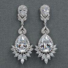 18K White Gold Plated Cubic Zirconia CZ Flower Wedding Bridal Drop earrings 7754