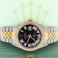 Rolex Datejust 2-Tone Gold/Steel 36mm Jubilee w/Black Roman Diamond Dial & Bezel