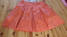 Talbots Women's Size 18 ORANGE & PINK IKAT SKIRT Pleated Cotton Full Midi Print