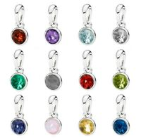 Month Droplet Birthstone With Crystal Necklace & Bracelet Pendant Charm