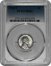 1943 S 1c Lincoln Steel Wheat Cent PCGS MS 62