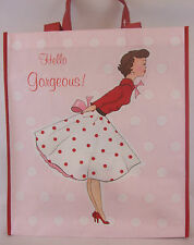 """Chic Reusable Shopping Bag """"Hello Gorgeous! """" Pink /White  By Hearts Designs"""