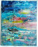 Original Acrylic Painting 8 x 10 Canvas Panel, Beach  Boat  Coastal Art