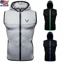 Men Hooded Hoodie Vest Tank Tops Sweatshirt Gym Muscle Summer Sleeveless T-shirt