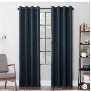 Halsey Textured Geometric Cotton Blend Semi-Sheer Grommet Curtain Panel - Scott