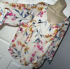 Womens🦋GEORGE🦋ivory mix flowers pattern lined chiffon top blouse size 24
