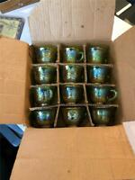 "Old Indiana Lime Green Carnival Glass Harvest Grape 2.5"" Punch Cup set of 12 NEW"