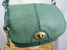 FOSSIL Green Leather Crossbody Purse Handbag Turnlock Twistlock