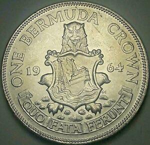 1964 BERMUDA 1 ONE CROWN SILVER BLAST WHITE GEM CHOICE LUSTER UNC BU (DR)