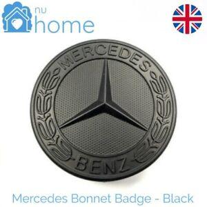 Mercedes Bonnet/Hood Badge 57mm Flat Star Emblem for Mercedes Benz MATT BLACK