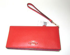 Coach Slim Wallet in Colorblock Leather 53759 Carmine Dahlia Orang Pink NWT $150