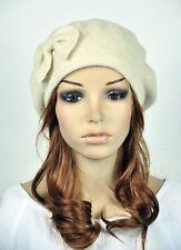 M10 All-Purpose Wool Women's Winter Hat Beanie Beret Cap Cute Bow LIGHT BEIGE