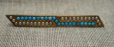 Antique Victorian Gold Filled Bar Pin Brooch - Tiny Turquoise Stones Seed Pearls