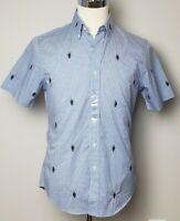 NWT Polo Ralph Lauren  MENS SLIMFIT SHORT SLEEVE ALL OVER BEAR SHIRT/ BLUE  #14