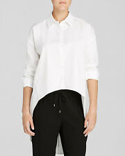Eileen Fisher Project New White Classic Collar Organic Cotton Hi Low Shirt  M $