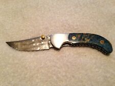 Custom Handmade Folding Knife Polished Damascus Stabilized Wood