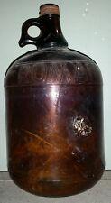 AMBER GLASS ROMAN BLEACH 1 GALLON JUG METAL CAP 1930'S 40'S ERA ORIGINAL UNCLEAN