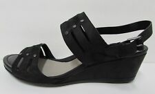 Ecco Size US 10 10.5 EUR 41 Black Leather Sandals New Womens Shoes